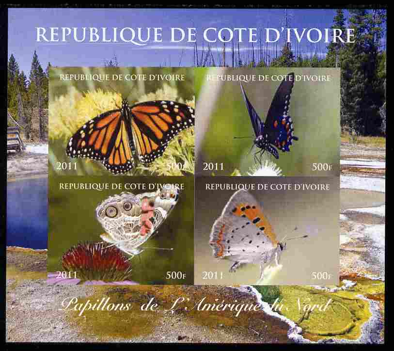 Ivory Coast 2011 Butterflies of North America imperf sheetlet containing 4 values unmounted mint. Note this item is privately produced and is offered purely on its thematic appeal