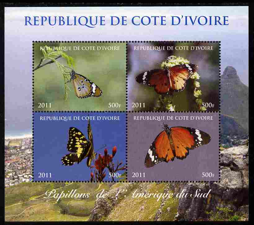 Ivory Coast 2011 Butterflies of South America perf sheetlet containing 4 values unmounted mint. Note this item is privately produced and is offered purely on its thematic appeal