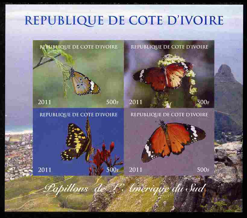 Ivory Coast 2011 Butterflies of South America imperf sheetlet containing 4 values unmounted mint. Note this item is privately produced and is offered purely on its thematic appeal