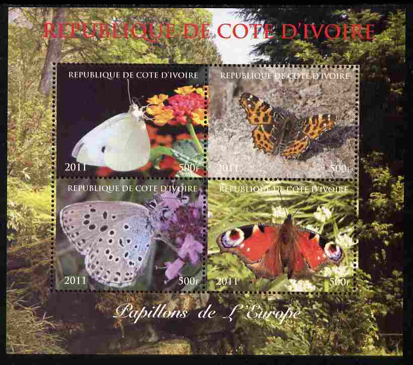 Ivory Coast 2011 Butterflies of Europe perf sheetlet containing 4 values unmounted mint. Note this item is privately produced and is offered purely on its thematic appeal