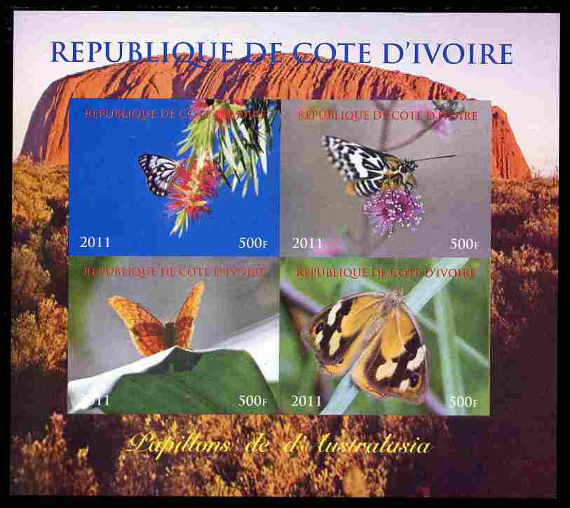Ivory Coast 2011 Butterflies of Australasia perf sheetlet containing 4 values unmounted mint. Note this item is privately produced and is offered purely on its thematic appeal
