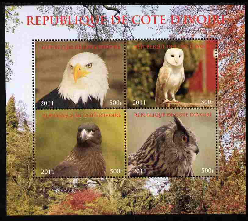 Ivory Coast 2011 Birds of Prey - Owls perf sheetlet containing 4 values unmounted mint. Note this item is privately produced and is offered purely on its thematic appeal