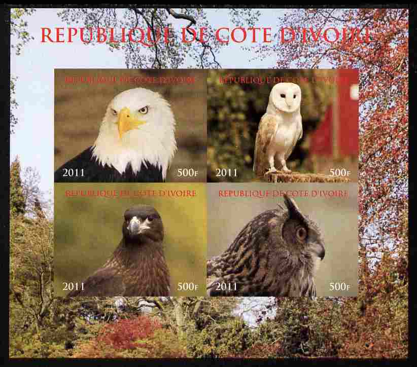 Ivory Coast 2011 Birds of Prey - Owls imperf sheetlet containing 4 values unmounted mint. Note this item is privately produced and is offered purely on its thematic appeal