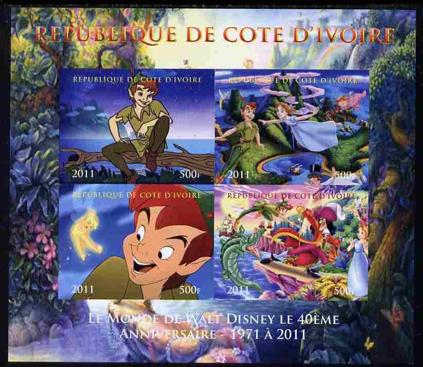 Ivory Coast 2011 The World of Walt Disney - Peter Pan imperf sheetlet containing 4 values unmounted mint. Note this item is privately produced and is offered purely on its thematic appeal