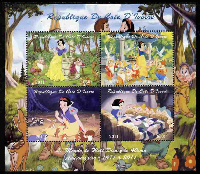 Ivory Coast 2011 The World of Walt Disney - Snow White perf sheetlet containing 4 values unmounted mint. Note this item is privately produced and is offered purely on its thematic appeal, it has no postal validity
