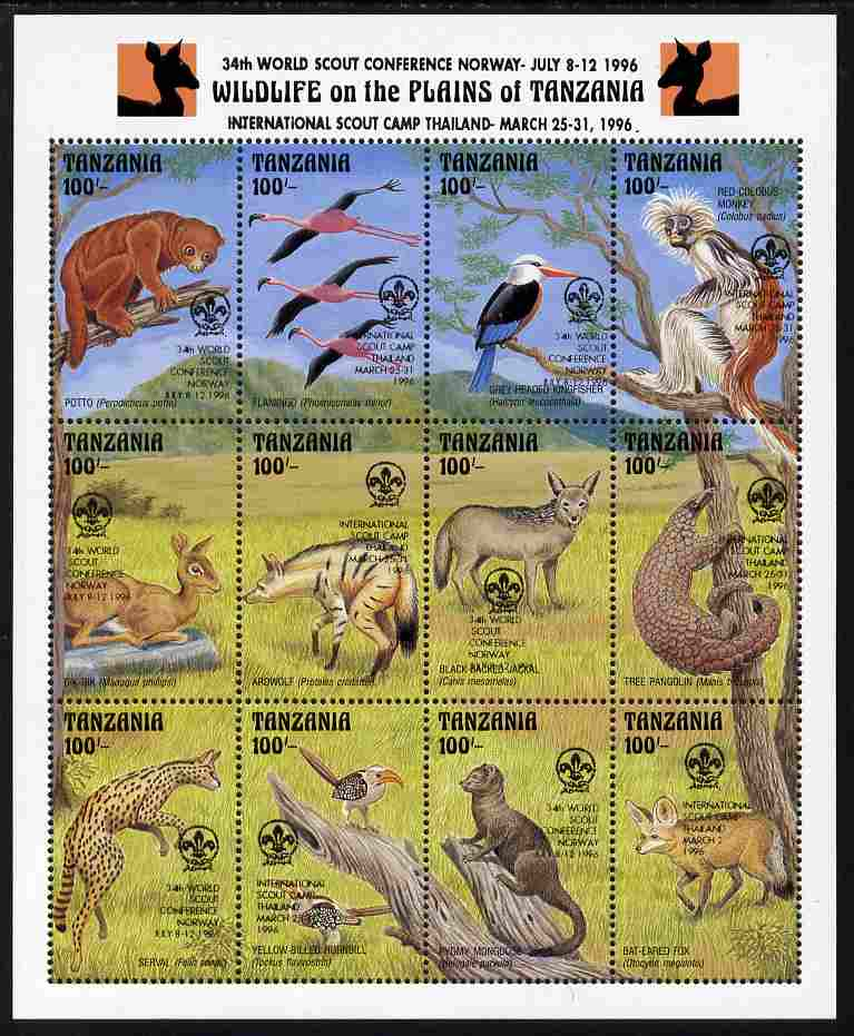 Tanzania 1996 World Scout Conference overprinted on 1993 Wildlife sheetlet of 16 values unmounted mint