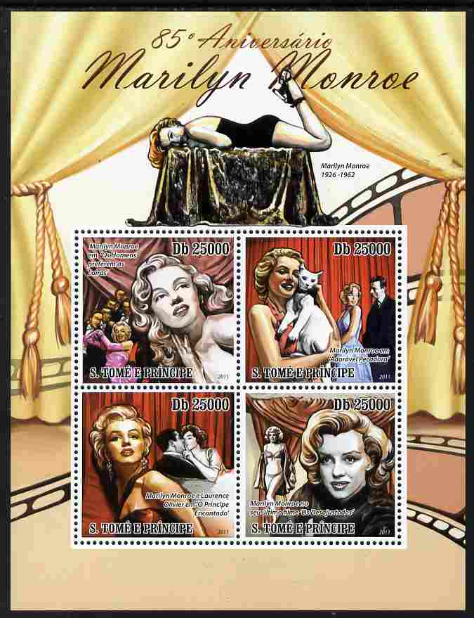 St Thomas & Prince Islands 2011 85th Birth Anniversary of Marilyn Monroe perf sheetlet containing 4 values unmounted mint