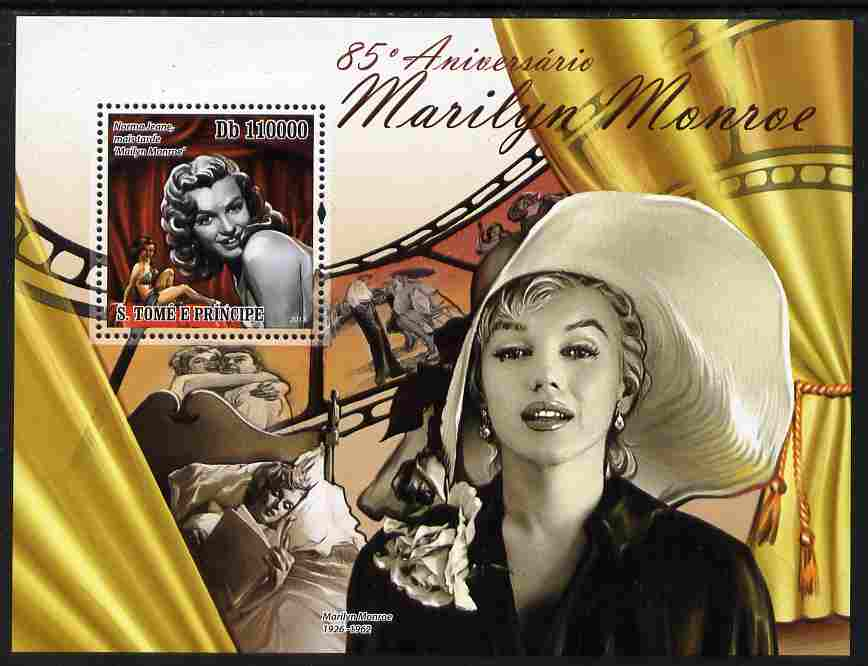 St Thomas & Prince Islands 2011 85th Birth Anniversary of Marilyn Monroe perf s/sheet unmounted mint