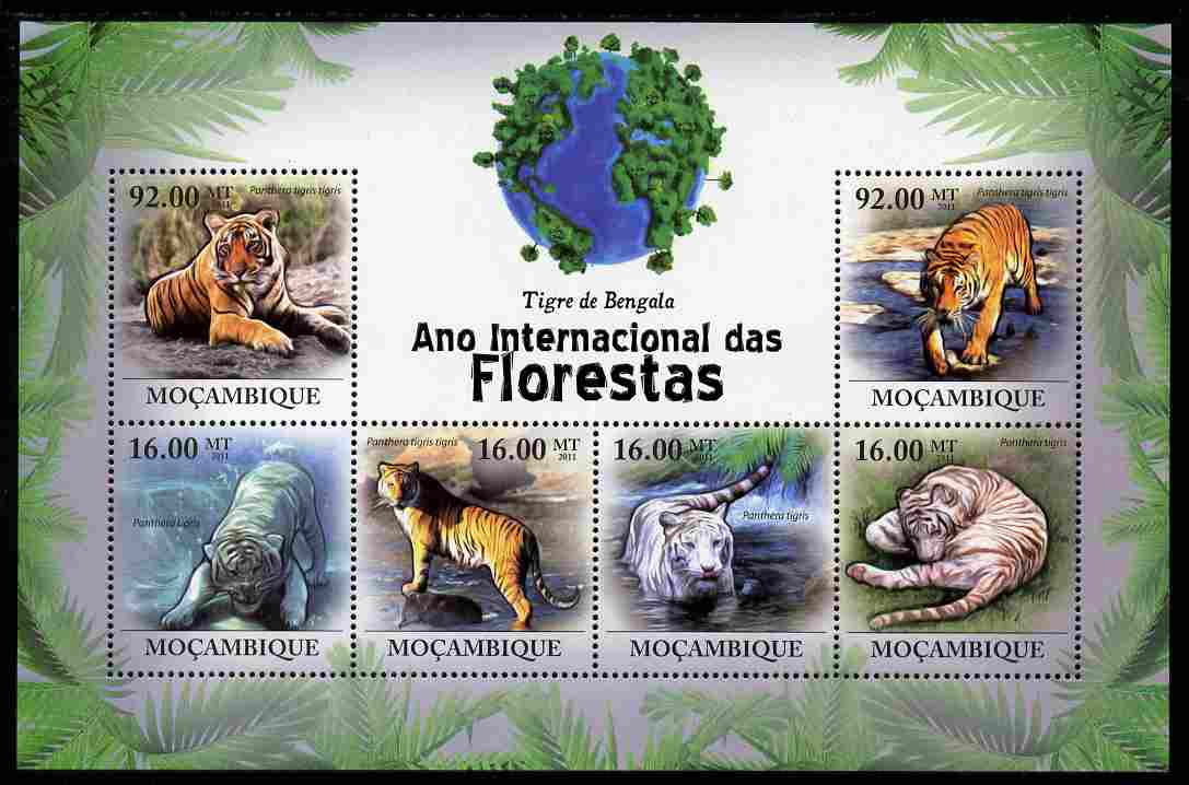 Mozambique 2011 International Year of Forests - Bengal Tigers perf sheetlet containing 6 values unmounted mint