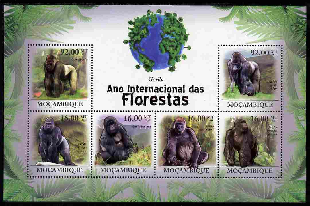 Mozambique 2011 International Year of Forests - Gorillas perf sheetlet containing 6 values unmounted mint