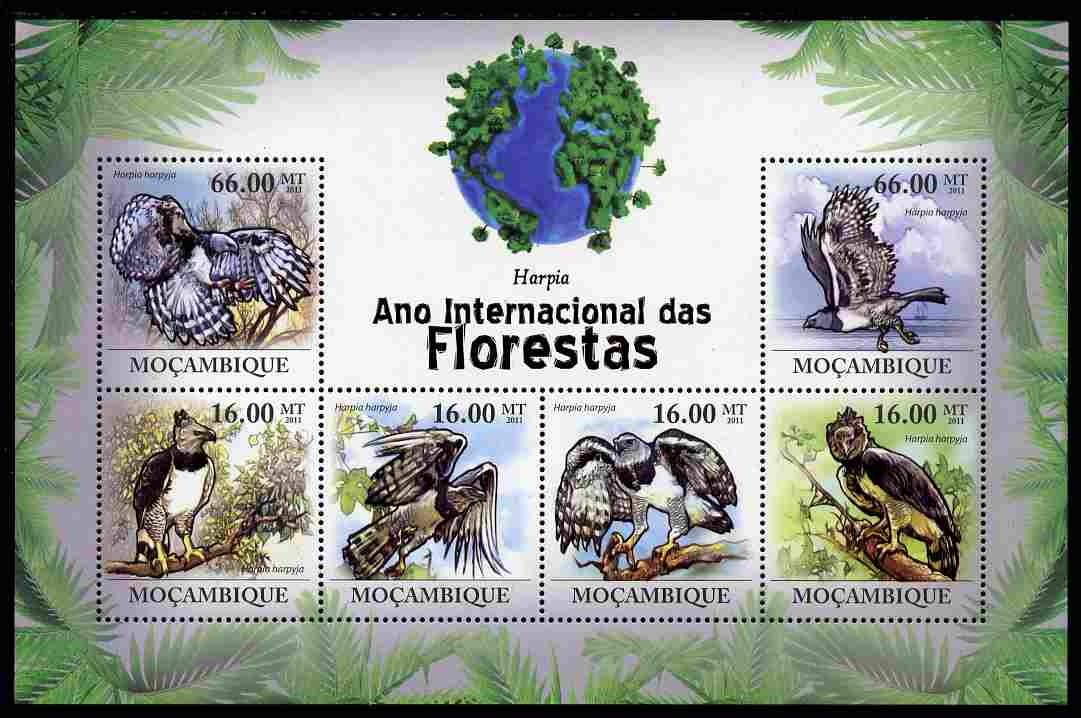 Mozambique 2011 International Year of Forests - Harpy Eagle perf sheetlet containing 6 values unmounted mint