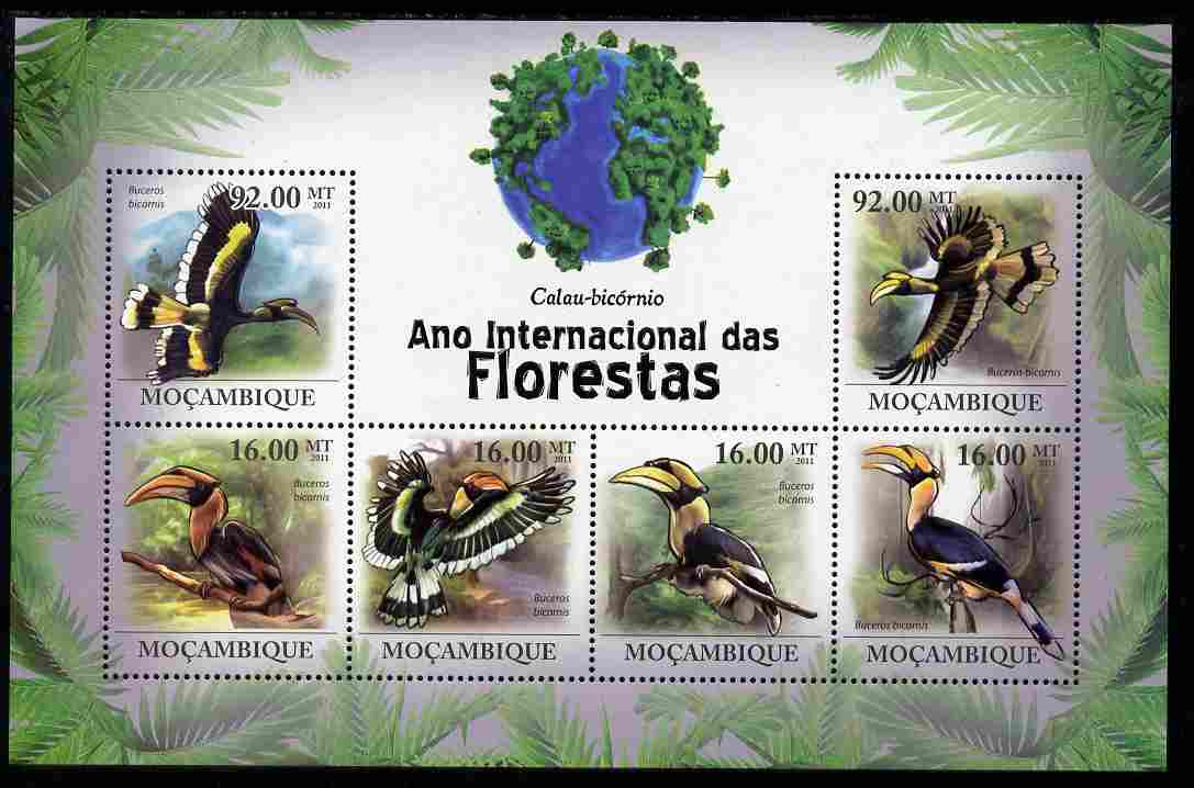 Mozambique 2011 International Year of Forests - Great Hornbill perf sheetlet containing 6 values unmounted mint