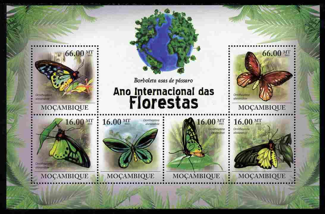 Mozambique 2011 International Year of Forests - Bird-Wing Butterflies perf sheetlet containing 6 values unmounted mint
