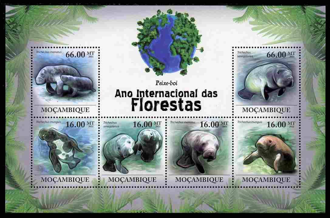 Mozambique 2011 International Year of Forests - Manatees perf sheetlet containing 6 values unmounted mint