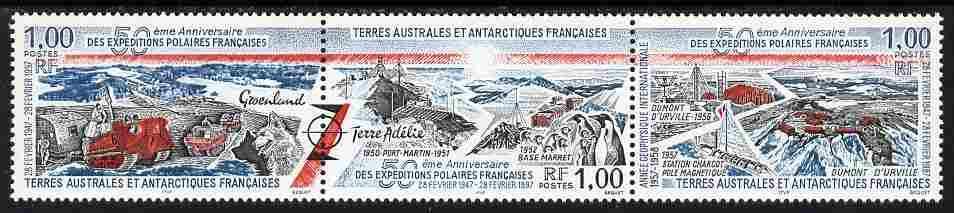 French Southern & Antarctic Territories 1997 50th Anniversary of First French Expedition se-tenant strip of 3 unmounted mint SG 374a