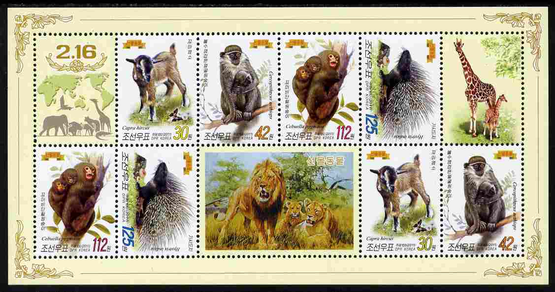 North Korea 2011 Animals perf sheetlet containing 8 values (2 sets of 4) plus labels unmounted mint