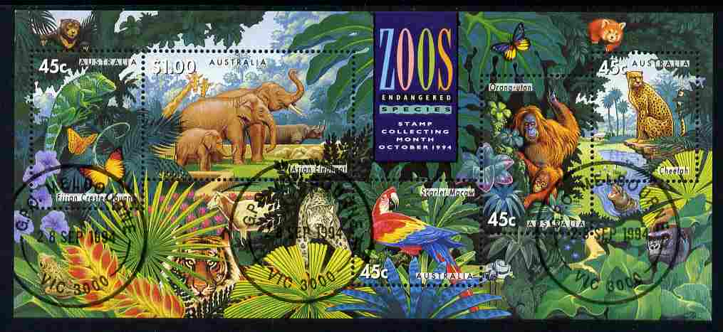 Australia 1994 Zoos m/sheet fine cds used SG MS 1484