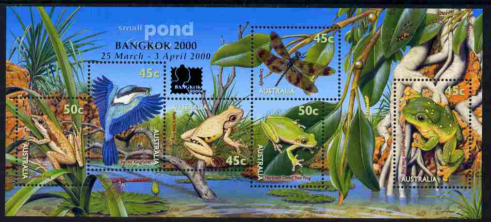 Australia 1999 Small Pond Life m/sheet with Bangkok 2000 imprint unmounted mint, SG MS 1913