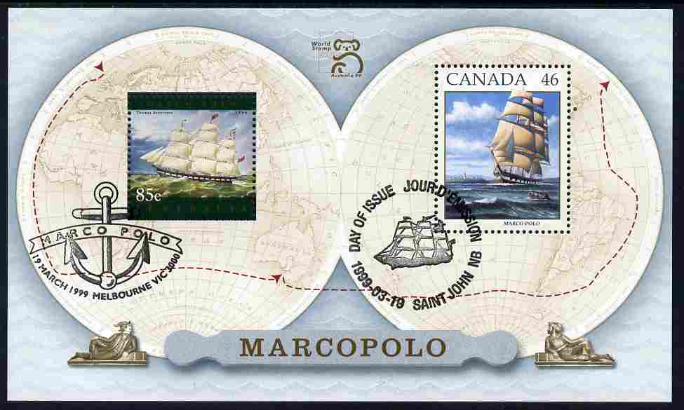 Australia & Canada 1999 Joint issue - Marco Polo m/sheet fine used with each stamp appropriately cancelled, SG MS 1851