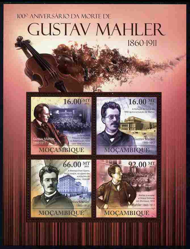 Mozambique 2011 Death Centenary of Gustav Mahler perf sheetlet containing 4 values unmounted mint