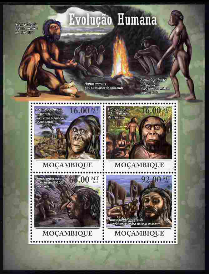 Mozambique 2011 Human Evolution perf sheetlet containing 4 values unmounted mint