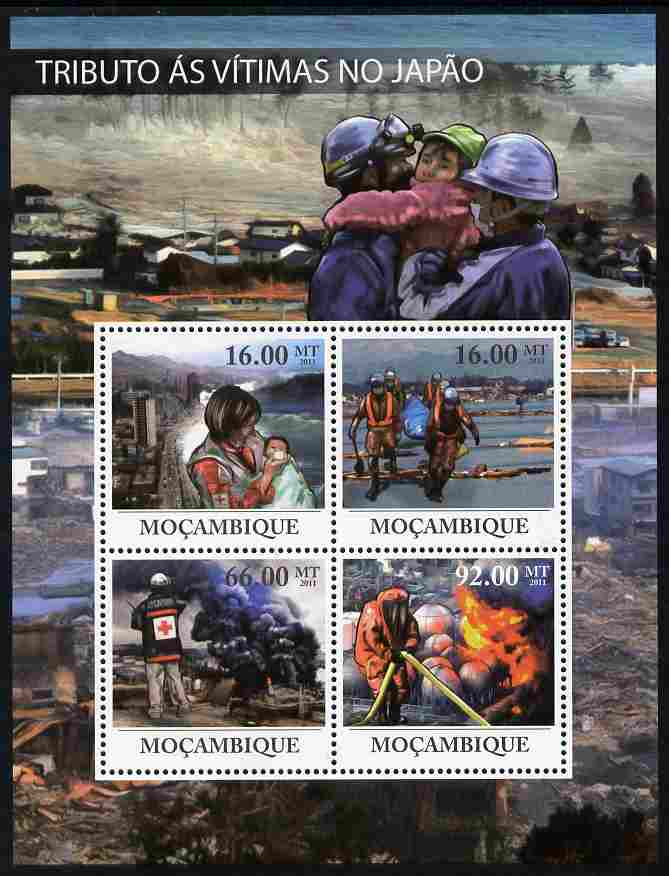 Mozambique 2011 Tribute to Victims of Japan's Earthquake perf sheetlet containing 4 values unmounted mint