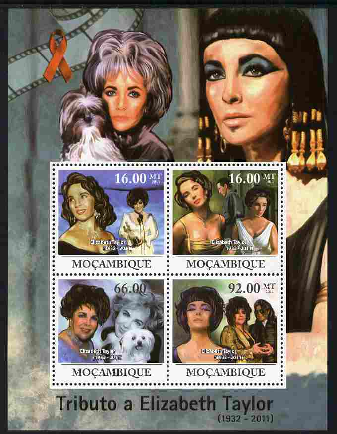 Mozambique 2011 Tribute to Elizabeth Taylor (actress) perf sheetlet containing 4 values unmounted mint