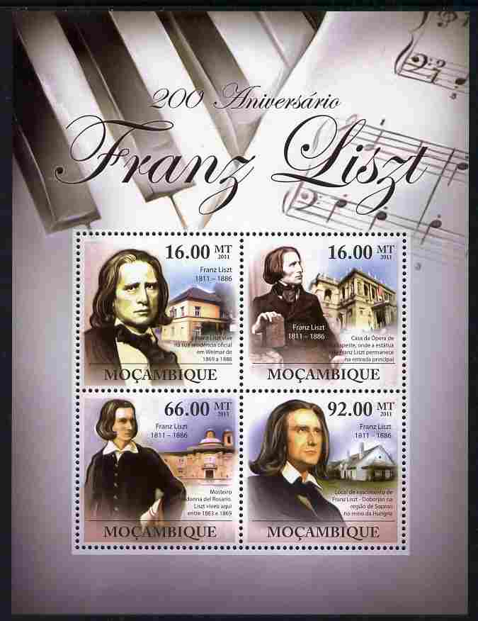 Mozambique 2011 200th Birth Anniversary of Franz Liszt perf sheetlet containing 4 values unmounted mint