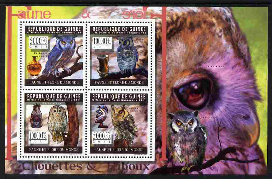 Guinea - Conakry 2011 Owls perf sheetlet containing 4 values unmounted mint