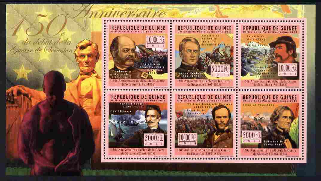 Guinea - Conakry 2011 150th Anniversary of American Civil War perf sheetlet containing 6 values unmounted mint