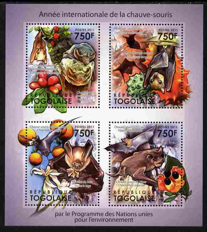 Togo 2011 International Year of Bats perf sheetlet containing 4 values unmounted mint