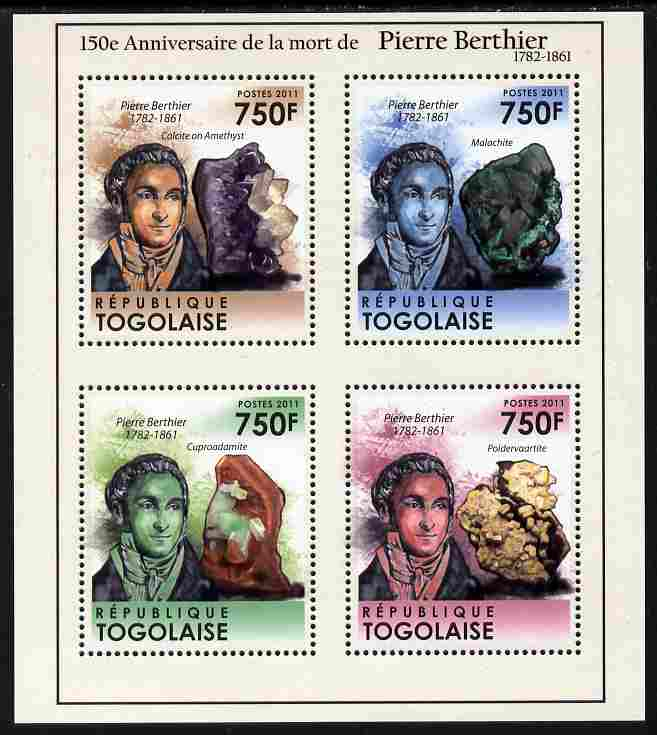 Togo 2011 150th Death Anniversary of Pierre Berthier perf sheetlet containing 4 values unmounted mint, stamps on personalities, stamps on mining, stamps on minerals