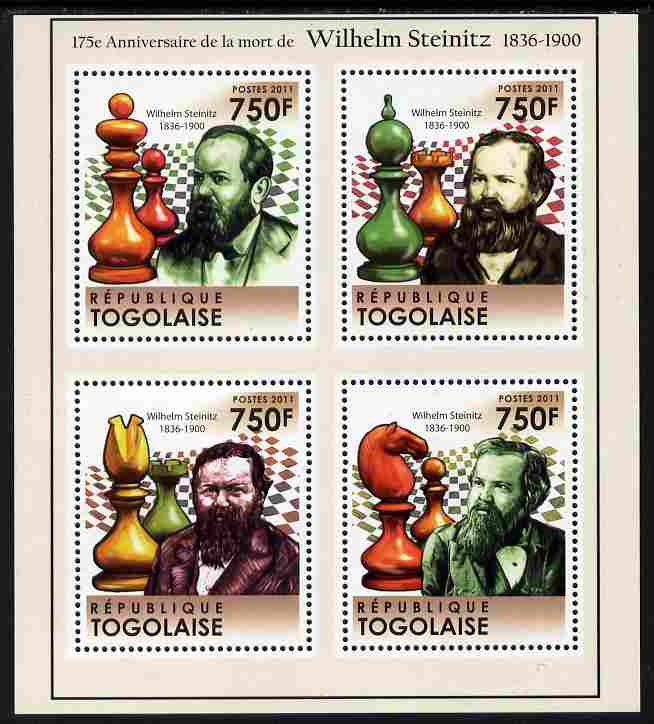 Togo 2011 175th Death Anniversary of Wilhelm Steinitz (chess) perf sheetlet containing 4 values unmounted mint