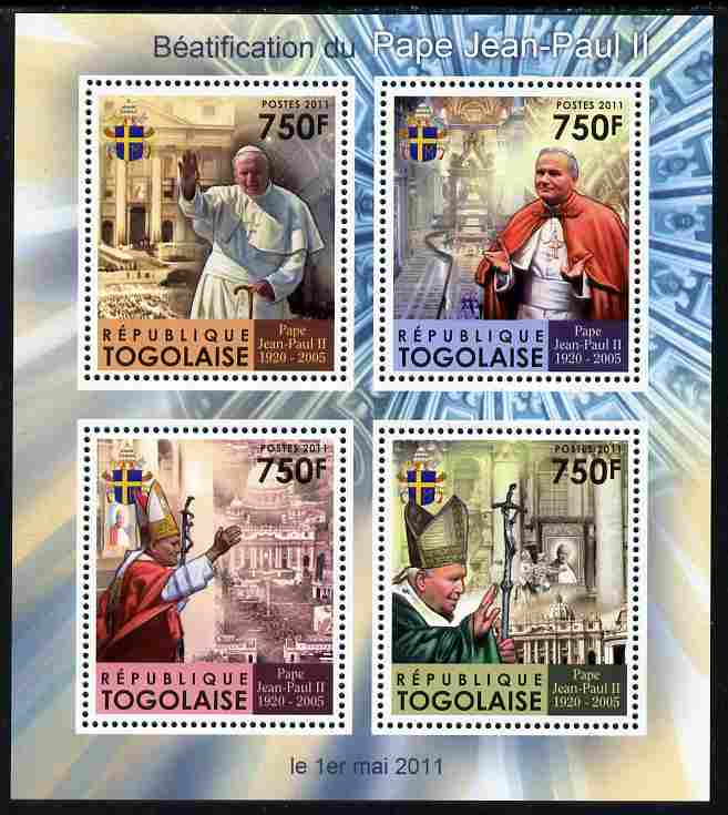 Togo 2011 Beatification of Pope John Paul II perf sheetlet containing 4 values unmounted mint