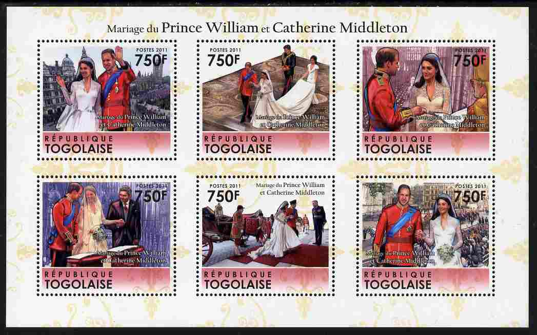 Togo 2011 Royal Wedding - William & Kate perf sheetlet containing 6 values unmounted mint