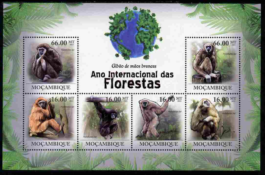 Mozambique 2011 International Year of the Forest - Monkeys perf sheetlet containing 6 values unmounted mint