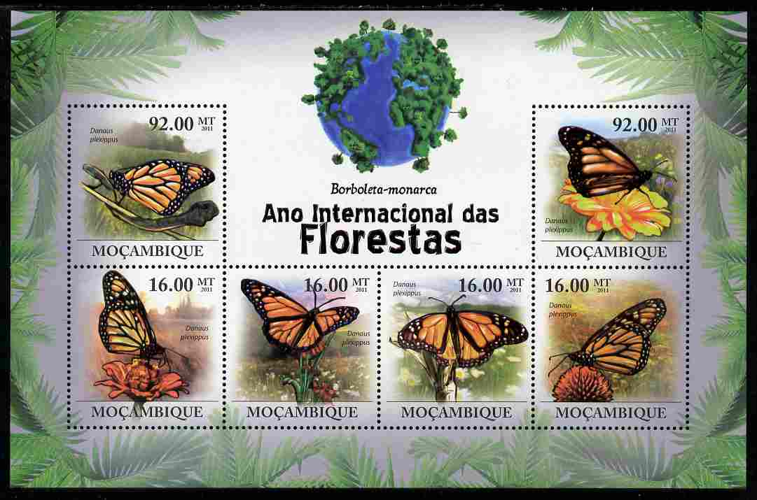 Mozambique 2011 International Year of the Forest - Butterflies perf sheetlet containing 6 values unmounted mint