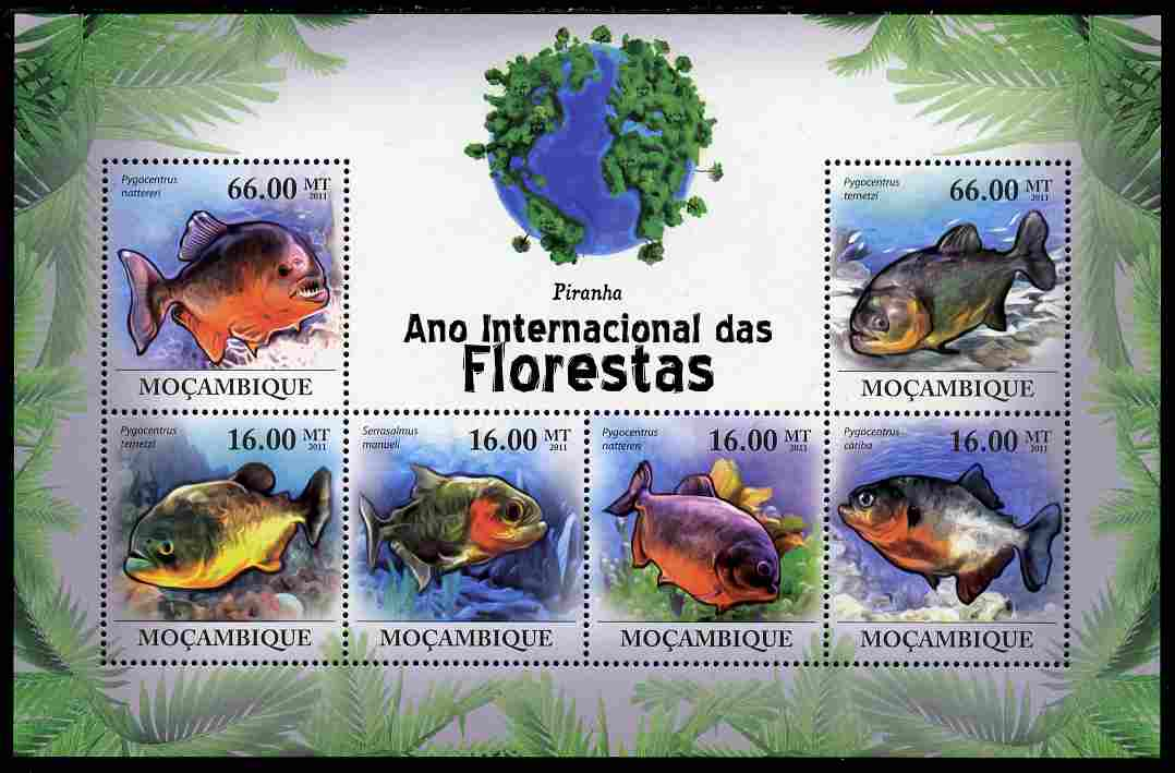 Mozambique 2011 International Year of the Forest - Piranhas perf sheetlet containing 6 values unmounted mint