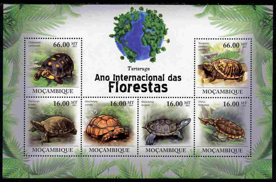 Mozambique 2011 International Year of the Forest - Turtles perf sheetlet containing 6 values unmounted mint