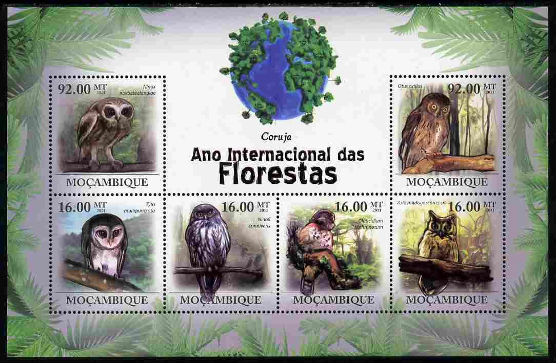 Mozambique 2011 International Year of the Forest - Owls perf sheetlet containing 6 values unmounted mint, stamps on birds, stamps on birds of prey, stamps on owls