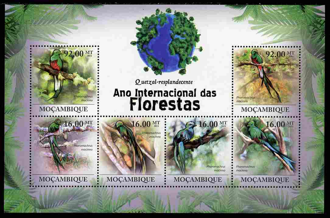 Mozambique 2011 International Year of the Forest - Resplendent Quetzal Birds perf sheetlet containing 6 values unmounted mint