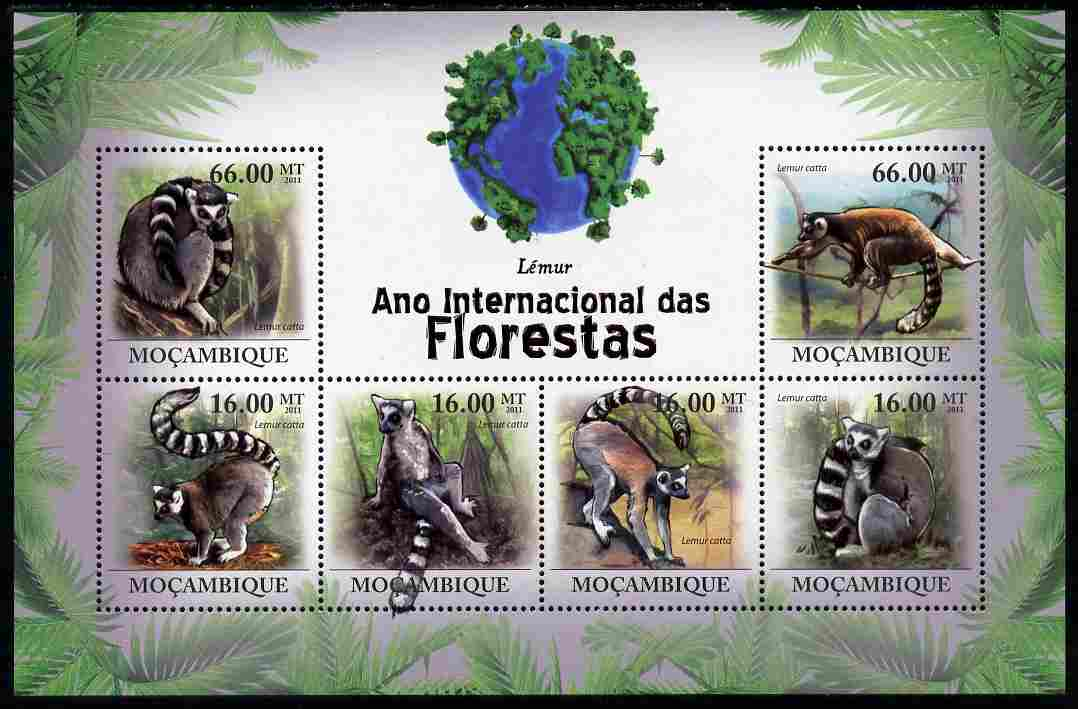 Mozambique 2011 International Year of the Forest - Lemurs perf sheetlet containing 6 values unmounted mint