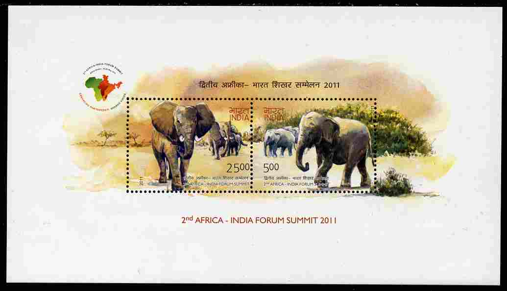 India 2011 Elephants perf m/sheet containing set of 2 values unmounted mint