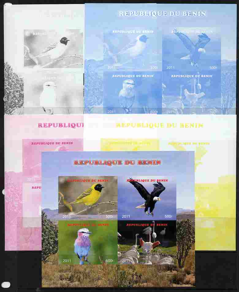Benin 2011 Birds sheetlet containing 4 values- the set of 5 imperf progressive proofs comprising the 4 individual colours plus all 4-colour composite, unmounted mint