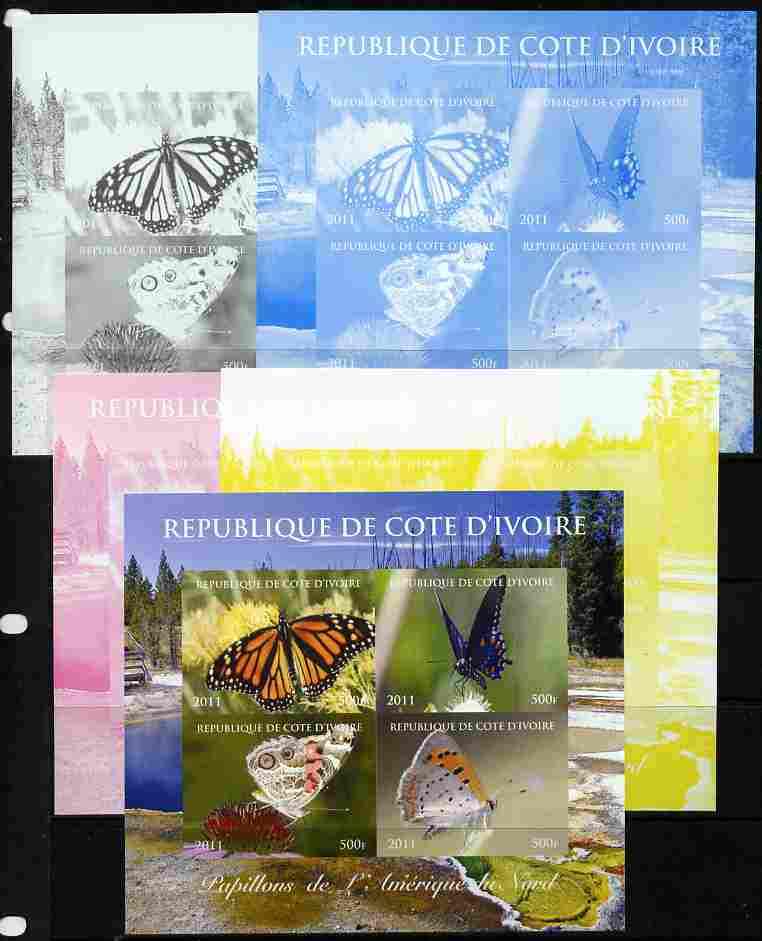 Ivory Coast 2011 Butterflies of North America sheetlet containing 4 values - the set of 5 imperf progressive proofs comprising the 4 individual colours plus all 4-colour composite, unmounted mint