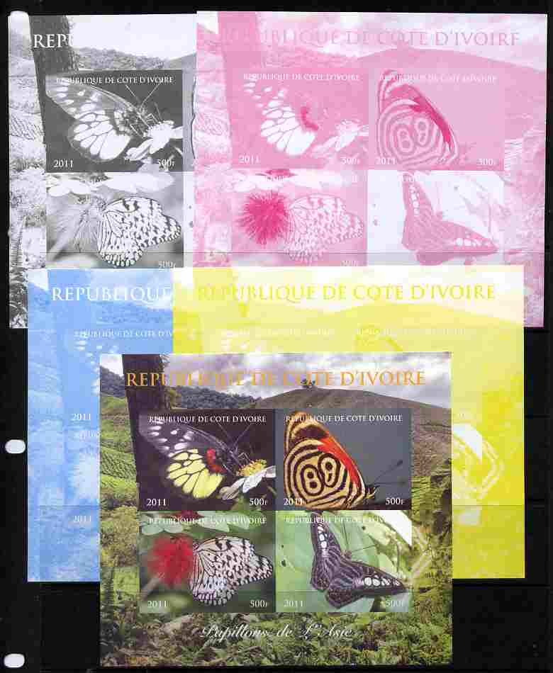 Ivory Coast 2011 Butterflies of Asia sheetlet containing 4 values - the set of 5 imperf progressive proofs comprising the 4 individual colours plus all 4-colour composite, unmounted mint