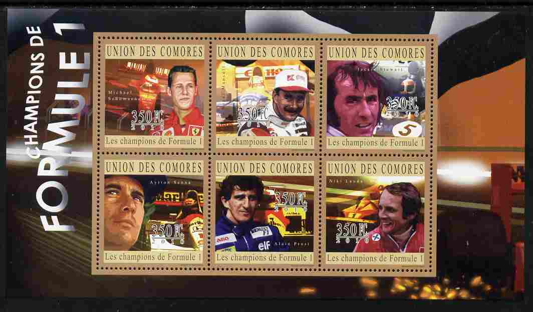 Comoro Islands 2010 Formula 1 Champions perf sheetlet containing 6 values unmounted mint
