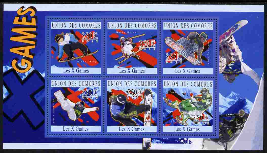 Comoro Islands 2010 X-Treme Sports perf sheetlet containing 6 values unmounted mint
