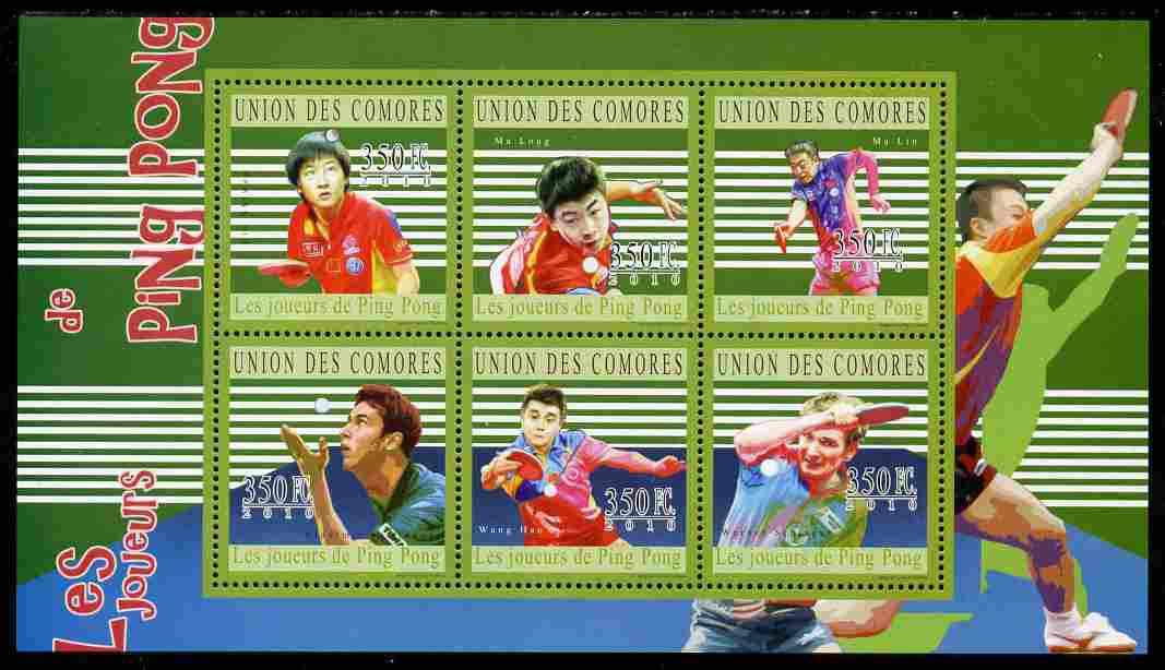 Comoro Islands 2010 Table Tennis perf sheetlet containing 6 values unmounted mint