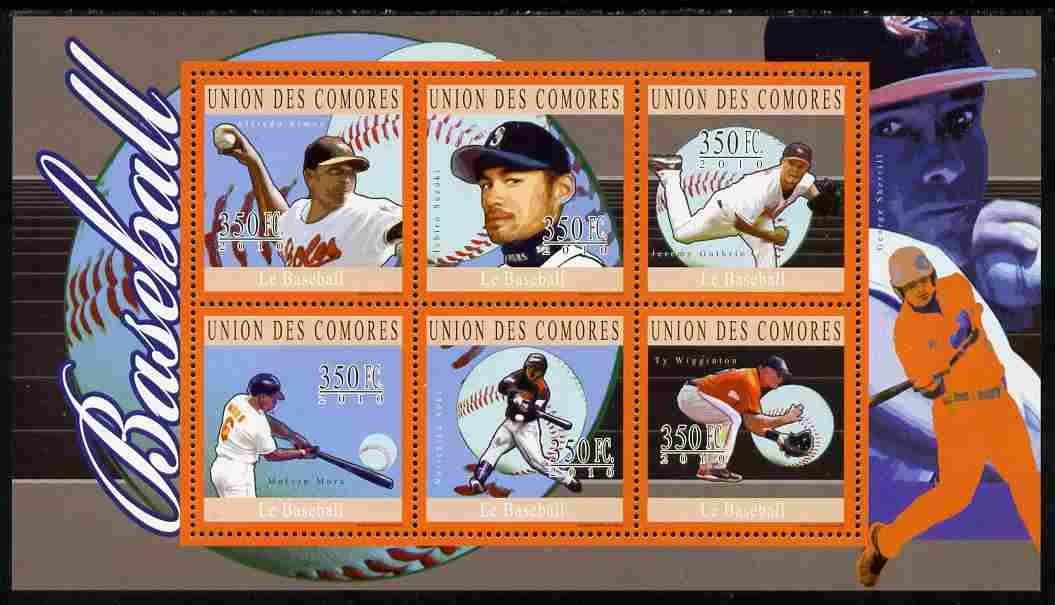 Comoro Islands 2010 Baseball perf sheetlet containing 6 values unmounted mint